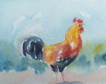 original watercolor painting ACEO rooster 2.5x3.5 inches