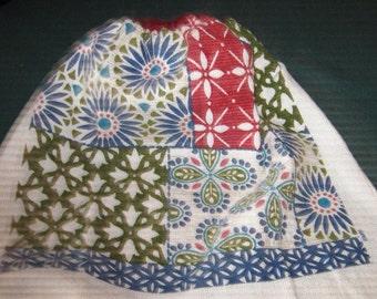 Crochet hanging towel, Floral Designs in boxes, burgundy crochet top