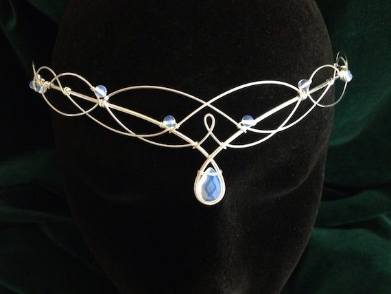 Silver Moonstone Bridal Circlet, Celtic Headpiece, Medieval Headdress, Wedding Tiara, Elven Tiara, Moonstone Headpiece, Elven Circlet