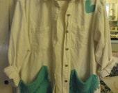 Denim Garden Smock/Refashioned White Denim Shirt/ Restyled Denim Tunic/ Funky Embellished Garden Smock/ Sheerfab Funwear