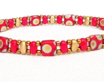 red bead bangle beaded bracelet czechmate bracelet tila bracelet superduo boho bracelet OOAK red and gold bracelet stackable bangle