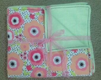Baby Girl Snuggle Flannel Flowers Baby Blanket Pinks Blacks & Greens