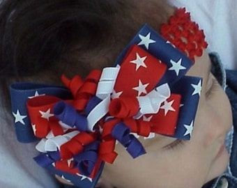July 4th Red White and Blue Stars Layered Korker Hair Bow Headband for Infants and Toddlers