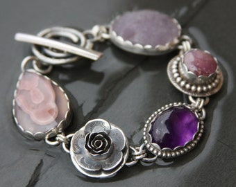 RESERVED for gardenstategirl oOo laguna lace agate, amethyst, ruby, flourite druzy, and sterling silver metalwork link bracelet