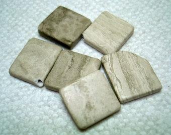 Grey Cream Marble Diamond Stone Beads (Qty 6) - B3021