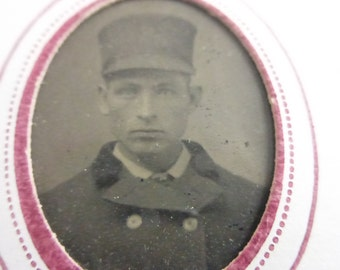 Antique Tiny Tin Type Portrait of Man with Tall Hat