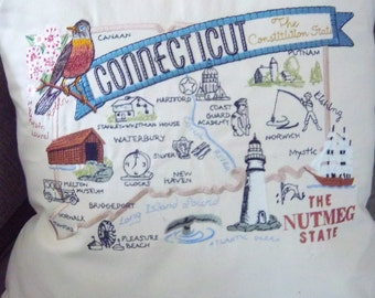 Embroidered State Map Pillow Connecticut