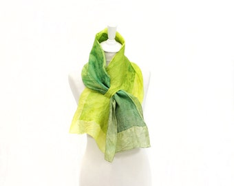 felted scarf, silk scarf, scarflette, accessories,  kate ramsey, fabulousfelt, neckwear, short scarf, neckpiece, small scarf, lime green