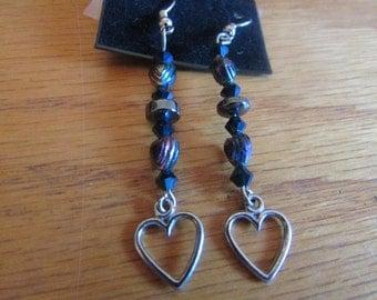 metallic beaded dangle heart earrings