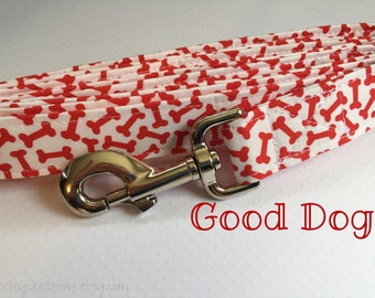 Red Dog Bones on White Dog Leash