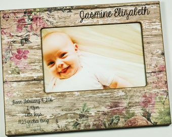 Newborn Baby Girl Photo Frame with Birth Statistics, personalized baby frame 4x6, 5x7