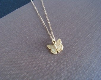 Gold Butterfly Necklace - Custom Jewelry - For Wives - Gifts For Girlfriends - Tiny Butterfly Necklace - Simple Necklace - For Teens