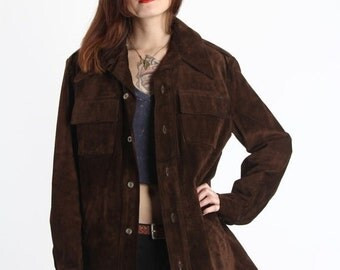 ON SALE Soft Suede Jacket . 1970s Shirt Coat