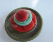 Vintage buttons, lot of 4 unique novelty buttons (1 stack) celluloid, red, green,  (stack 34)