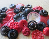 Vintage Buttons - Cottage chic mix red and black lot of 27, old and sweet (feb 75b)