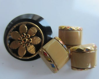 Vintage Buttons - lot of 4, 3 matching black and beige novelty glass, gold accents, old and sweet (lot jan 64b)