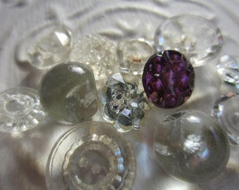 Vintage Buttons - lot of clear Depression glass, assorted novelty cut glass, lot of 12, mostly clear (mar 210)