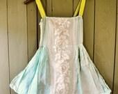 Vintage Combination Teddy Romper Lingerie Playsuit Camisole Slip 1920s 1930s Flapper Cotton Floral Lace Mint Green Chartreuse Ribbon Size XS