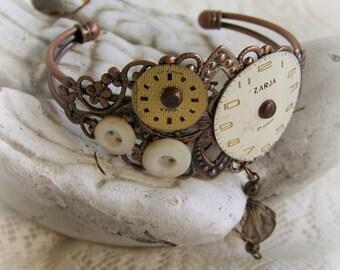 Steampunk Bracelet Vintage Style Altered Watch Face Bracelet Filigree Cuff Bracelet Vintage Watch Face Ornate Charm Bracelet Steam Punk