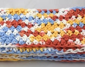 Skinny Light and Lacy Calico Country multicolor snuggly 100 percent cotton crochet scarf