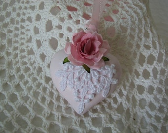 Glass Heart Hand Painted Pink Victorian Ornament Pink Rose Lace