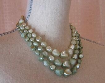 Vintage Three Strand Light Green Graduated Plastic Pearl 1950s Necklace