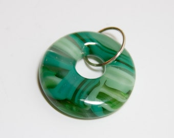 Green fused glass donut pendant - 211