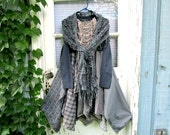 M-L Indigo Blue Gray Reconstructed Bohemian Cotton Day Dress + Scarf// emmevielle