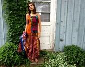 Lg. Orange Multi Bohemian Hippie Festival Maxi Tank Top Dress// Reconstructed Summer// emmevielle