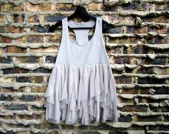 Xsmall Small Taupe Ethereal Cropped Tank Top// Upcycled// emmevielle