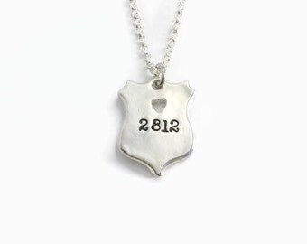 Got Your Number with heart cut out - Police Officer Shield - Law Enforcement Necklace