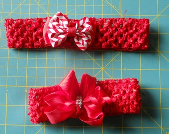 One headband, red with with red deco bow.