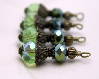 Bead Dangle Charm Drop Rondelle Crystal in Lime Green AB Crystal with Brass, Pendant, Necklace Dangle, Charm Drop
