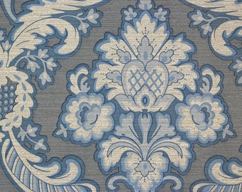 1970s Retro Vintage Wallpaper Blue Floral Damask on Vinyl by the Yard