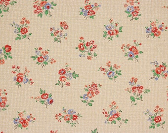 1920s Vintage Wallpaper Red and Blue Flowers on Tan by the Yard--Made in Belgium