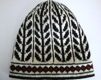 Fair Isle Hat - Warm Winter Cap - Swedish-Style Leaf Design - Scandinavian