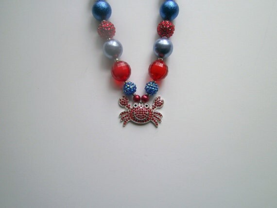 Crab Rhinestone Pendant Necklace, Bubblegum Bead Necklace, Chunky Bead Necklace, Toddler Necklace, Jewelry for Kids, Red,White and Blue