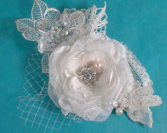 Bridal Hair Flower,  Ivory Lace, Organza and Tulle Rose Hair Clip  I213, bridal hair accessory