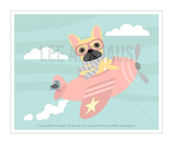 44F Dog Print - French Bulldog Flying Pink Airplane Wall Art - Pink Nursery Wall Art - French Bulldog Print - Pink Airplane Print - Dog Art