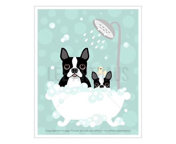 9F Bath Print - Boston Terrier and Puppy Dog in Bathtub Wall Art - Puppy Print - Black and White Boston Terrier Print - Bath Wall Decor