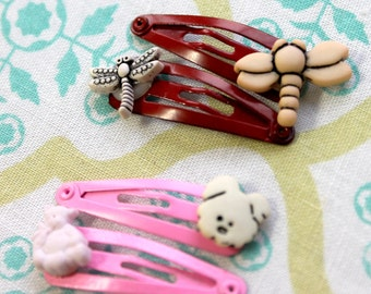 4 baby red pink snap clips,dragonflies,bear, dog,dragonfly snap clip,bear snap clip,dog snap clip,bay snap clip,red snap clip,pink snap clip