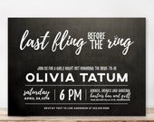 Gold Glitter Bachelorette Party Invitation, Black and white Confetti Invite, Girls Night Out, Last Fling, Bling Bridal Party - Printable