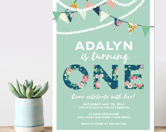 garland birthday party invitation, modern birthday party invitation, banner birthday invitation,  cute girl party, PRINTABLE DIY