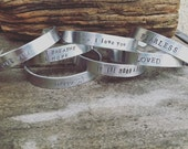New Hand Stamped Silver Cuff, Create you Own, Design your Own wording