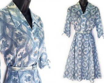 Vintage 50s Blue Abstract Floral Print  Cotton Day Dress M