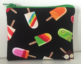 Popsicles Coin Purse - Ice Cream Cotton Change Purse - Small Zipper Pouch - Summer