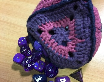 Crocheted d4 dice bag