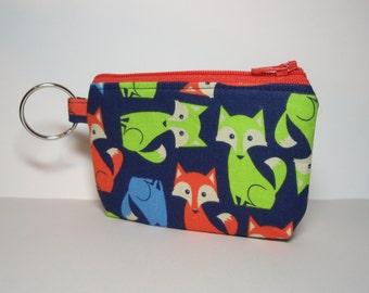Foxy Zipper Pouch Orange Zip - Small Coin Purse or Dice Bag