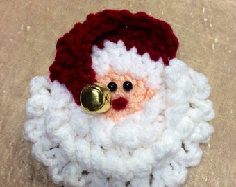 Crochet Santa Pin Magnet Ornament Gift Tag Christmas