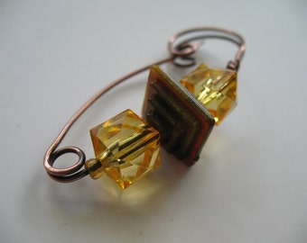 At An Angle, a Copper Scarf Pin, Shawl Pin, Sweater Pin, Hat Pin, or Closure Accessory for Your Knits and Weaves